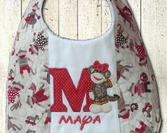 Sock Monkey bib Personalized