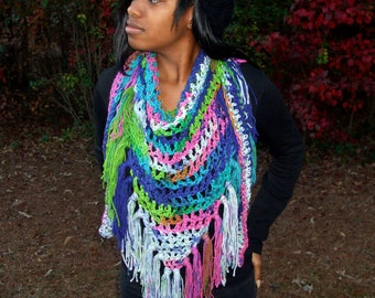 Hand Crochet Triangle Fringe Scarf in Multiple Colors