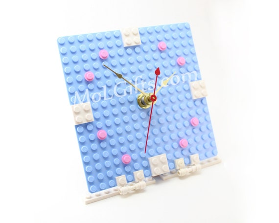 Geek Girl Clock made from New LEGO (r) Pieces, Pink and Blue