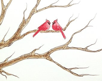 Wedding Tree Guest Book CARDINALS ADD-ON Original Watercolor Painting