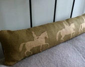 hand printed  rustic olive reversible dressage riders bolster