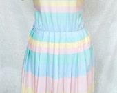 striped colorblock lanz original shirtdress M/L