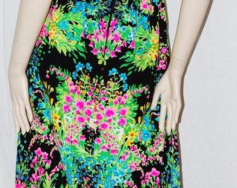 MR DINO WiLD GARDEN Fantasy Floral Maxi DreSS ReSoRT Vtg JeT Set 60s 70s