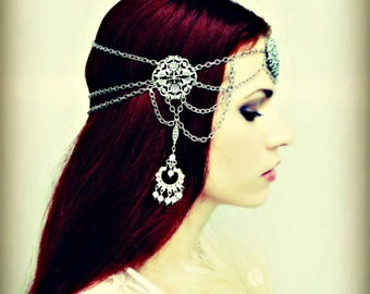 Art Nouveau Headpiece - Silver Art Deco Rhinestone Medieval Headdress