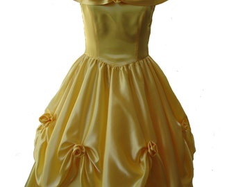 Custom Boutique Beauty and the Beast Princess BELLE Adult Size Yellow Costume Ball Gown