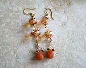Long crystal earrings, topaz color crystal, drop carnelian, orange stone jewelry