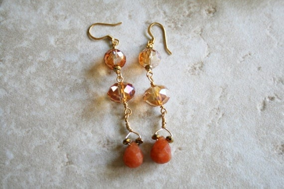 Long crystal earrings, topaz color crystal, drop carnelian, orange stone jewelry