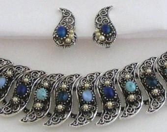 Florenza Turquoise Rhinestone Bracelet & Earrings Set