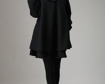 Black wool dress mini dress swing dress (733T)