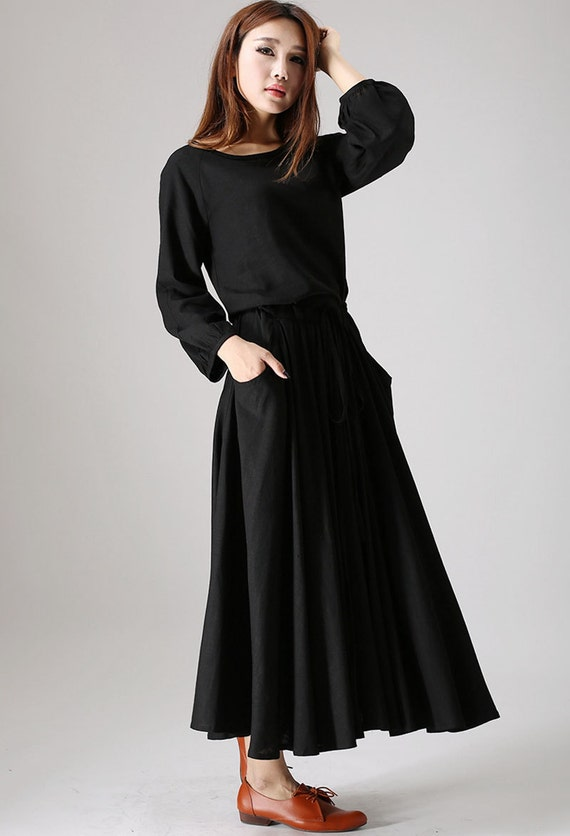 Black Dress Ladies Maxi Dress Boho Dress Womens Casual