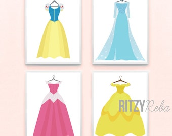 Disney Princess Inspired Nursery Girl Art Print Set of 4 - Belle, Cinderella, Rapunzel, Frozen, Elsa, Snow White Kids Baby, Playroom