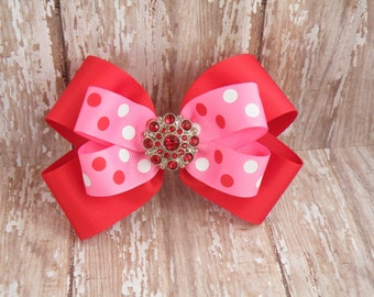 """5"""" Red and Hot Pink Polka dot hair bow,  Red hair bow, Pink hair bow, Ready to Ship"""