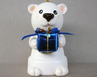 Birthday Bear Flowerpot Bell Ornament