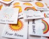 75 Rainbows and Sunshine Personalized Name Labels - children's clothing tags