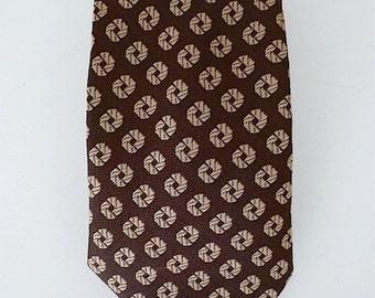Vintage Neckties Men's 70's Polyester, Brown, Tan, Fat Tie by Monsieur Crovatieur