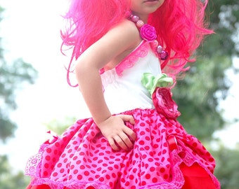 Strawberry Shortcake Custom Doll Costume Halter Lace Dress Super Twirly Dress-up Custom Sizes