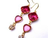 Vintage Swarovski Crystal Heart Triple Drop Earrings Rose Pink Hollywood Glam