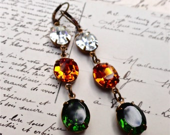 Miami Hurricane Earrings Orange Green Swarovski Crystals UM University of Miami Colors