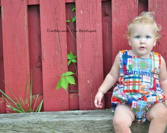 Madras Patchwork Plaid Monogrammed Boys Romper, sizes 3mos, 6mos, and 9mos