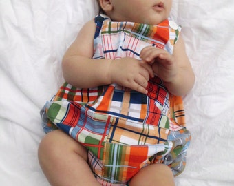 Madras Patchwork Plaid Boys Romper, sizes 3mos, 6mos, and 9mos