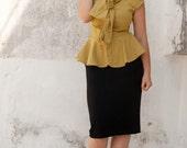 Bow Tie  Blouse ,Peplum shirt , Button Up Top
