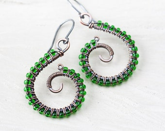 Vivid green earrings, wire wrapped copper earrings, handmade pure copper spiral, kelly green glass seed beads, oxidized copper jewelry