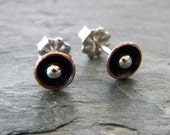 Copper Domed Cup Tiny Post Earrings Sterling Silver Mixed Metal Artisan Jewelry Oxidized Copper