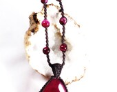 Druzy Crystal Macramé Beaded Necklace