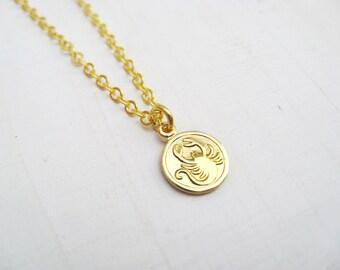 CLOSING SALE - Half Off - Scorpio Tiny Zodiac Necklace / Choose Your Length