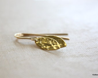 Gold Leaf Earrings Hammered Brass Fall Jewelry