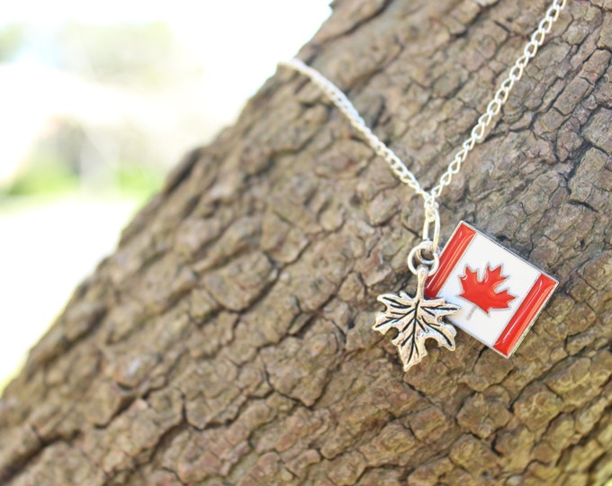 Oh Canada, Canadian pride maple leaf travel necklace.