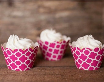 12 Cupcake Wrappers - Pink Spanish Tile Cupcake Wrappers - Patterned Wrappers - Great for Birthday Parties, Baby Showers & Bridal Showers