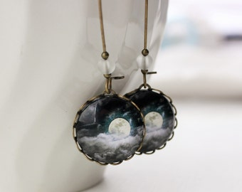 Stormy Night Moon Earrings. Clouds. Night Sky. Full Moon. Moon Jewelry