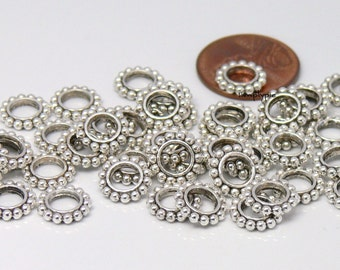 9mm Antiqued Silver Flower Rondelle with Large Hole 25