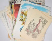 Children's Book Pages Grab Bag of 100 Vintage Text & Illustration Ephemera Pages