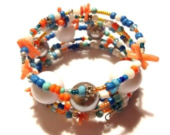 "Bracelet - Memory Bracelet - Colorful - Turquoise, teals, oranges, white - Chunky - Statement - ""End of the End"""