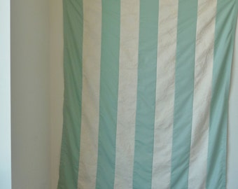 Curtain Panel - Cream -Sage Green - Cabana Stripe - Floral Damask - Hand Made - Stripes - Tablecloth - Recycled - Garden - Wedding - Unique