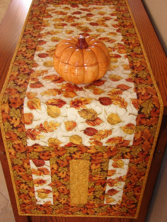 Autumn Fall Thanksgiving Quilted Table Runner with Elegant Glittery ...
