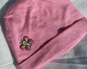 Newborn Baby Girl // Pink Beanie Hat // Butterfly Applique