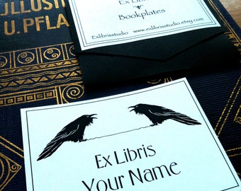 Ex Libris Two Ravens 25 Personalized Bookplates Booklabels