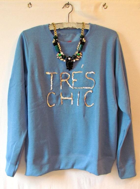 TRES CHIC sequined fashion statement oversized sweatshirt