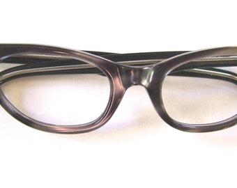 1950s Cats Eye Eyeglasses // 50s NOS Catseye Vintage Frames // Grey Pearlized // SC  Brand#A13