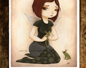 FROG princess FAIRY prince fantasy art print - Kissing Frogs