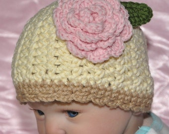 Baby Hat, Cotton Hat with Flower