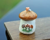 Dollhouse Miniature Merry Mushrooms Cookie Jar 1970's Inspired