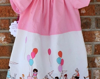 Little Girl Toddler Sized 5T Pink Parade Themed Flutter Style Dress Ready to Ship