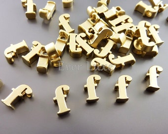 2 lowercase letter f matte gold initial beads initial charms alphabet beads personalized jewelry crafts 1947 mg f matte gold f 2 pcs