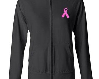 Neon Print Pink Ribbon Breast Cancer Awareness Jacket Bella Spandex Jacket