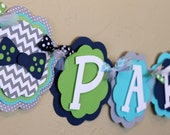 Little Man Bow Tie Chevron Stripe Polka Dot NAME or IT'S A BOY Banner Navy Blue Gray Turquoise Green Baby Shower Birthday Party Decoration