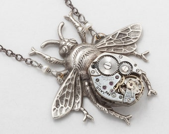 Steampunk Necklace vintage watch movement gears silver bumble bee genuine pearl Victorian pendant Statement Necklace Gift Steampunk Jewelry